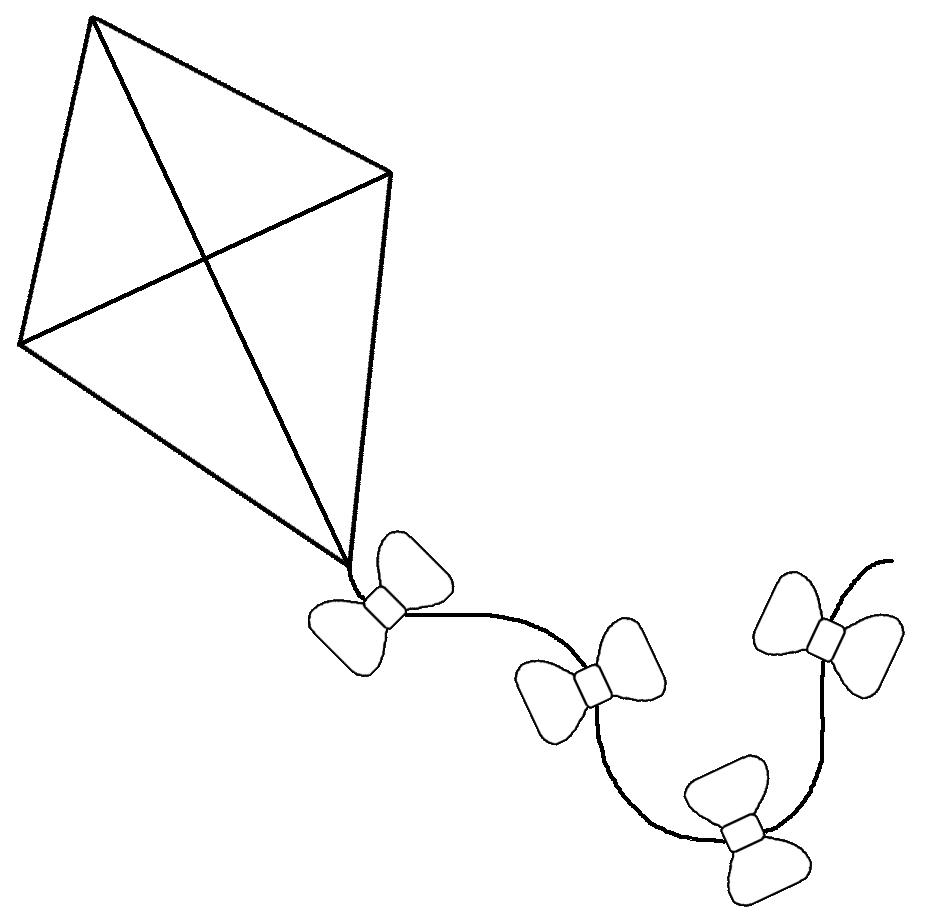 clipart black and white kite - photo #9