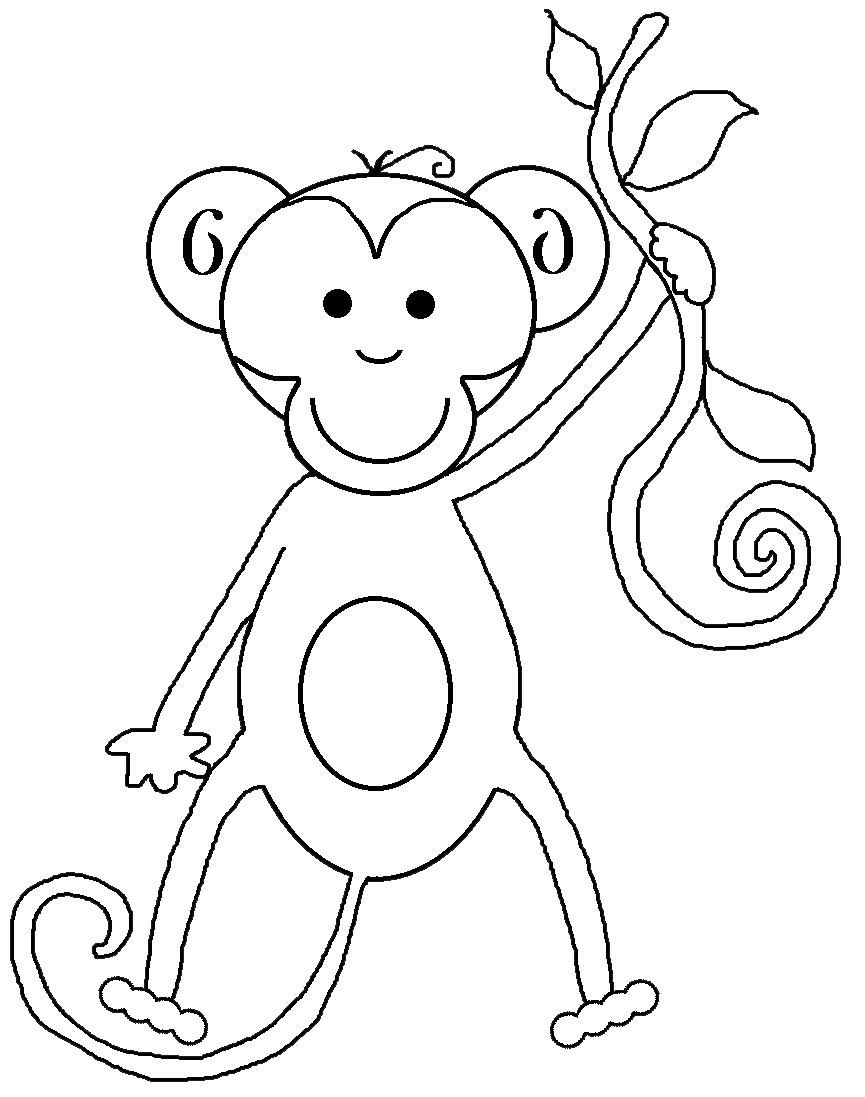 ... And White Baby Monkey Clip Art , Black And White Tiger Clip Art